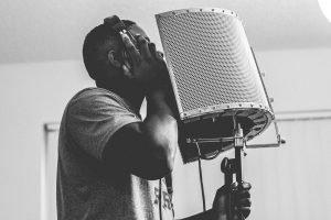 guy, singing, headphone